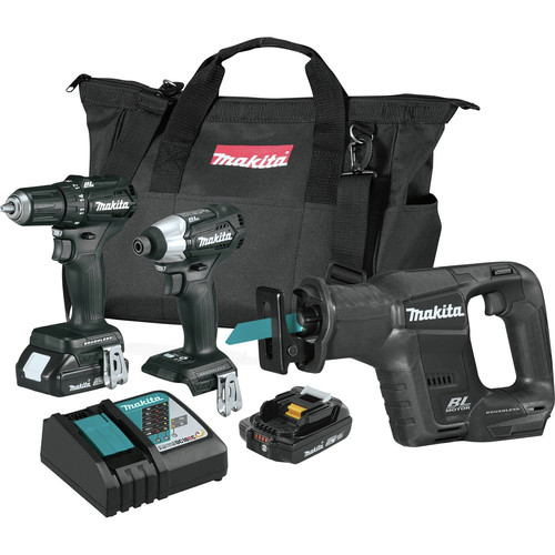 Factory Reconditioned Makita CX300RB-R 18V LXT Lithium-Ion Sub-Compact Brushless Cordless 3-Pc. Combo Kit image number 0