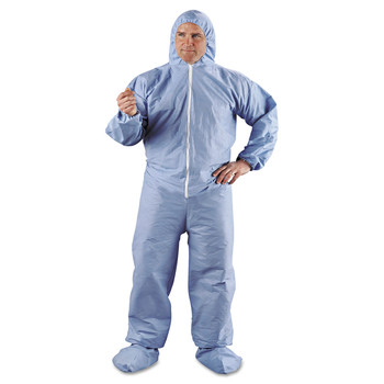 KleenGuard KCC 45356 A65 Hood & Boot Flame-Resistant Coveralls, Blue, 3x-Large, 21/carton image number 0