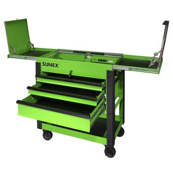 Sunex 8035XTLG 3 Drawer Slide Top Utility Cart with Power Strip (Lime Green) image number 1