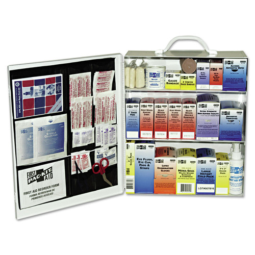 Pac-Kit 6155 494-Piece 100 Person 3 Shelf First Aid  Steel Cabinet image number 0