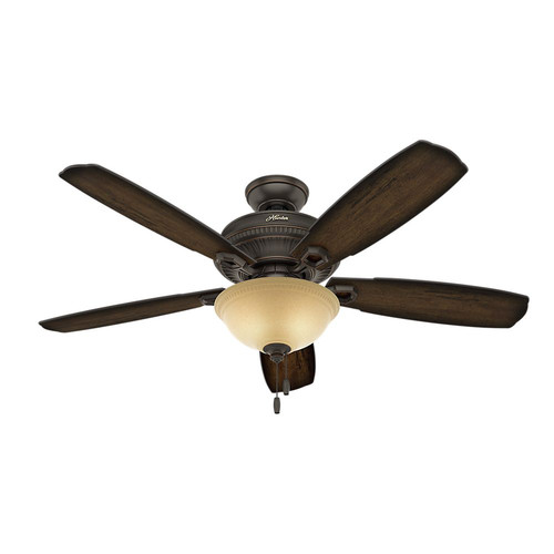 Hunter 53353 52 in. Traditional Ambrose Bengal Ceiling Fan with Light (Onyx)