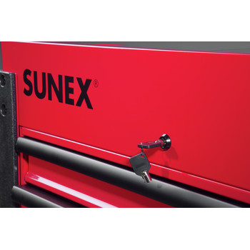 Sunex 8035XT 3 Drawer Slide Top Utility Cart with Power Strip (Red) image number 3