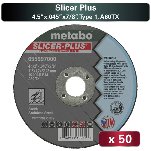 Metabo US655997050 50-Piece A60TX Slicer Plus T1 4.5 in. x 0.45 in, x 7/8 in. Cutting Wheel Pack image number 0
