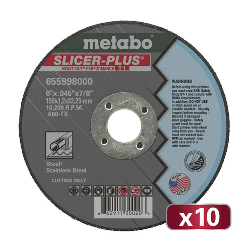 Metabo US655998010 10-Piece SLICER PLUS A60TX 6 in. x .045 in. x 7/8 in. Cutting Wheel Set image number 0