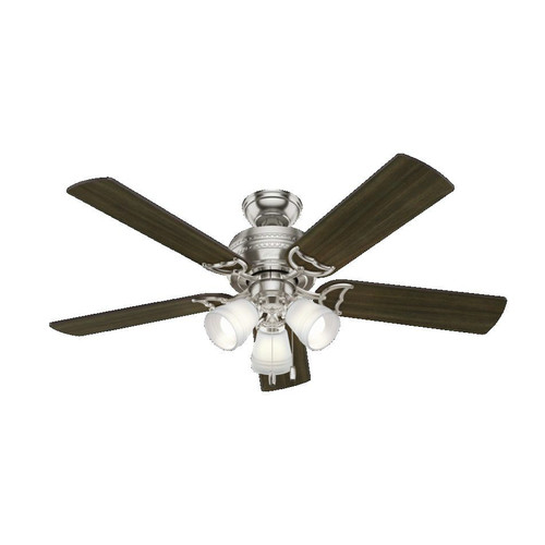 Hunter 53384 52 in. Prim Brushed Nickel Ceiling Fan with Light