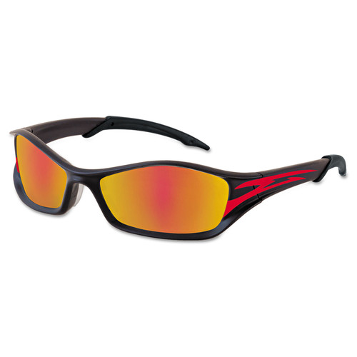 Crews 135-TB13R Tribal Tattoo Protective Eyewear, Graphite Red Frame, Fire-Mirror Lens
