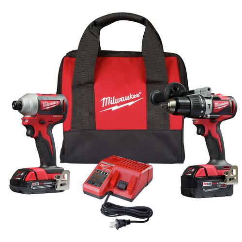 Milwaukee 2893-22CX M18 Brushless 2.0 Ah / 4.0 Ah Hammer Drill / Impact Driver Combo Kit image number 0