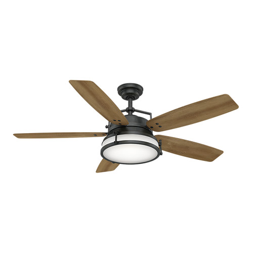 Casablanca 59359 56 in. Caneel Bay Aged Steel Ceiling Fan with Light and Wall Control