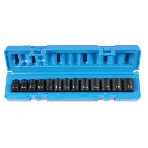 Grey Pneumatic 12 Pc 3//8/'/' Drive Semi–Deep Length SAE Socket Set 1213SD