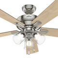 Hunter 54206 52 in. Crestfield Brushed Nickel Ceiling Fan with Light image number 7