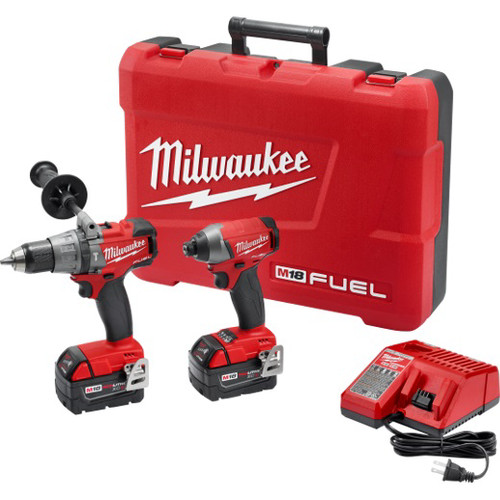Factory Reconditioned Milwaukee 2897-82 M18 FUEL Cordless Lithium-Ion 1/2 in. Hammer Drill and 1/4 in. Hex Impact Driver Kit
