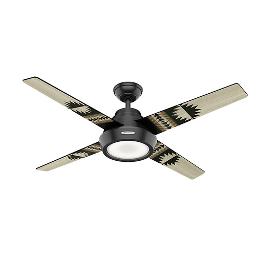 Hunter 59389 54 in. Pendleton Matte Black Ceiling Fan with LED Light Kit and Remote Control image number 0