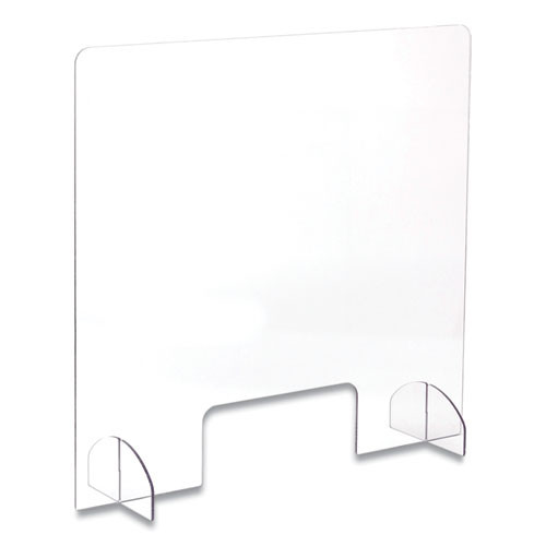 Safco 7500CL 30 in.x 8 in. x 28 in. Portable Acrylic Sneeze Guard with Document Pass Through - Clear image number 0