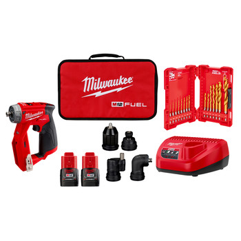 Milwaukee 2505-24-CPO M12 REDLITHIUM CP 1.5 Ah Lithium-Ion Compact Battery (2-Pack) plus Shockwave 15-Piece Tin Kit plus M12 FUEL Lithium-Ion 3/8 in. Cordless Installation Drill