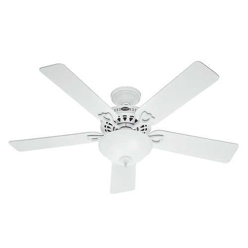 Hunter 53059 52 in. Astoria White Ceiling Fan with Light