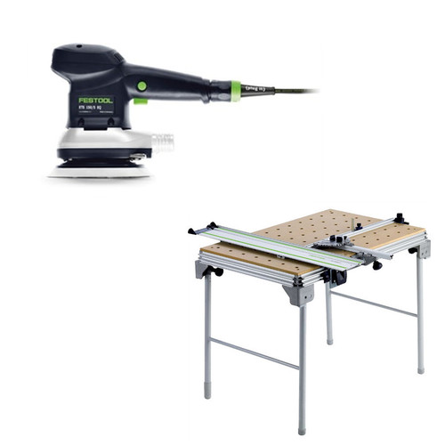 Festool ETS 150/5 EQ 6 in. Random Orbital Finish Sander plus Multi-Function Work Table