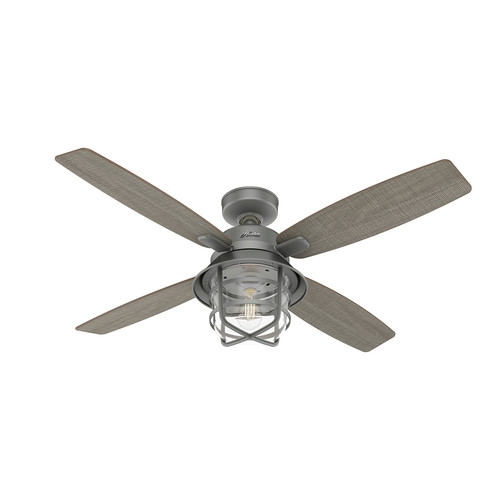 Hunter 50390 52 in. Port Royale Matte Silver Ceiling Fan with LED Light Kit and Remote image number 0