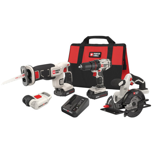 Factory Reconditioned Porter-Cable PCCK616L4R 20V MAX Cordless Lithium-Ion 4-Tool Combo Kit
