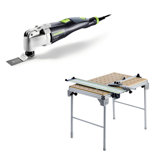 Festool OS 400 Vecturo 3.3 Amps Oscillating Multi-Tool Kit plus Multi-Function Work Table