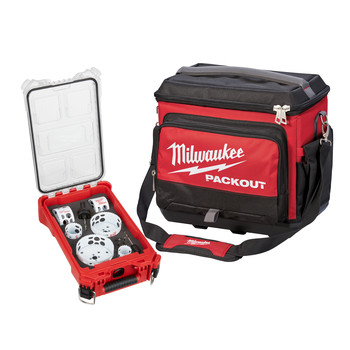 Milwaukee 49225606-48228302 10-Piece Hole Dozer Hole Saw Kit with PACKOUT Compact Organizer plus PACKOUT Cooler
