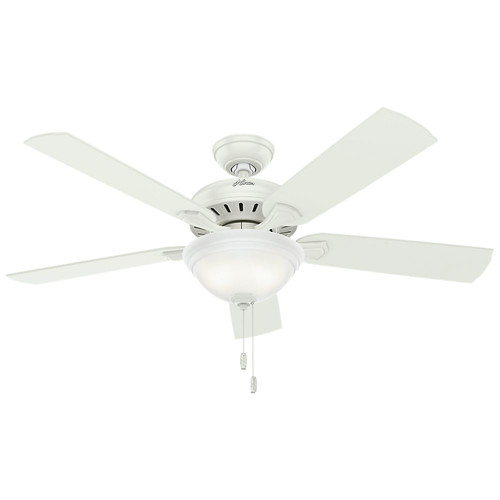 Hunter 53358 52 in. Fletcher Five Minute Ceiling Fan with Light (Fresh White)