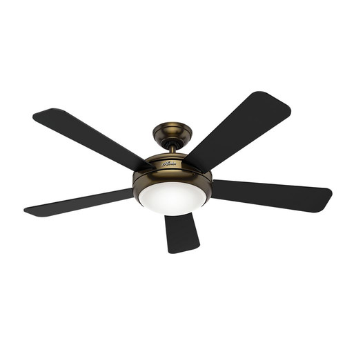 Hunter 59053 Palermo 52 in. Contemporary Brushed Bronze Black Ceiling Fan with Light