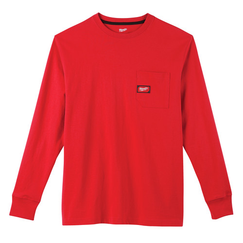Milwaukee 602R-XL Heavy Duty Long Sleeve Pocket Tee Shirt - Red, X-Large image number 0
