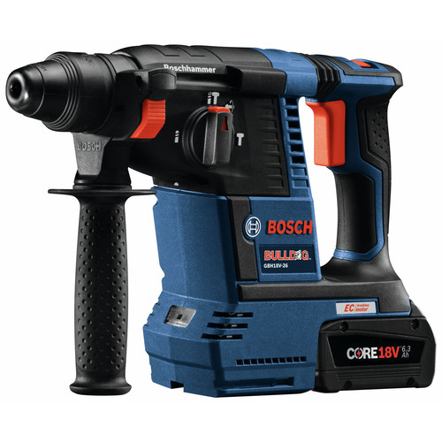 Bosch GBH18V-26K24GDE 18V EC Brushless 1 in. SDS-plus Bulldog Rotary Hammer Kit with (2) CORE18V 6.3 Ah Batteries and Dust-Collection Attachment image number 1