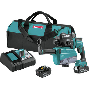 Makita XRH12TW 18V LXT Lithium-Ion 5.0 Ah Brushless 11/16 in. AVT SDS-PLUS AWS Capable Rotary Hammer Kit with HEPA Dust Extractor image number 0