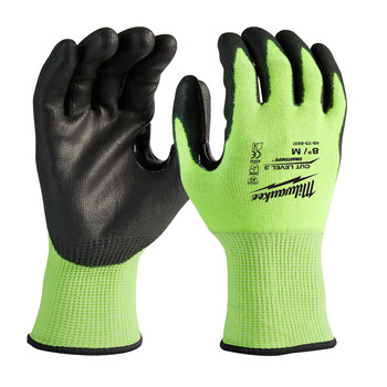 Milwaukee 48-73-8932B 12-Piece Cut Level 3 High Visibility Polyurethane Dipped Gloves - Large