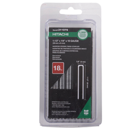 Hitachi 21107S 18-Gauge 1/4 in. x 1-1/2 in. Electro Galvanized Finish Staples (1,000-Pack)
