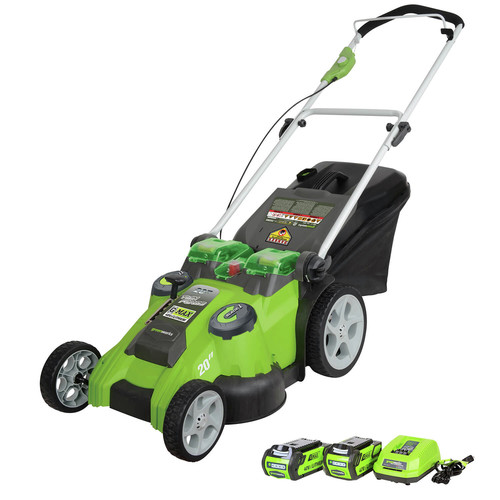Greenworks 25302 40V G-MAX Li-Ion 20 in. 2-in-1 Twin Force Lawn Mower image number 0