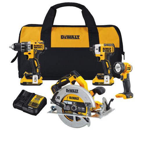 Dewalt DCK483D2 20V MAX XR Brushless Compact Lithium-Ion Cordless 4-Tool Combo Kit image number 0