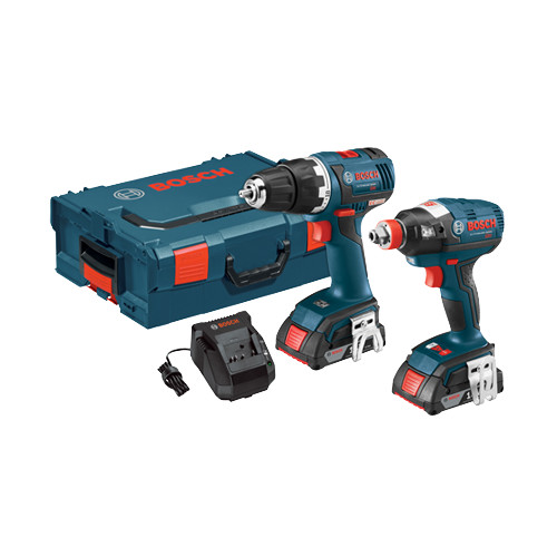 Bosch CLPK233-181L Compact Tough 18V Cordless Lithium-Ion Brushless Drill Driver & Impact Driver Combo Kit