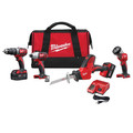 Factory Reconditioned Milwaukee 2695-84 M18 18V Cordless Lithium-Ion 4-Tool Combo Kit