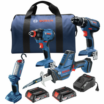 Factory Reconditioned Bosch GXL18V-496B22-RT 18V Lithium-Ion Cordless 4-Tool Combo Kit (2 Ah)