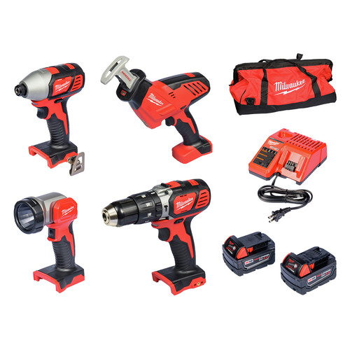 Milwaukee 2695-24 M18 18V Lithium-Ion 4-Tool Combo Kit image number 0