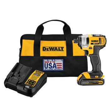 Dewalt DCF885C1 20V MAX Compact Lithium-Ion 1/4 in. Cordless Impact Driver Kit (1.5 Ah)