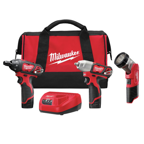 Milwaukee 2491-23 M12 12V Cordless Lithium-Ion 3-Tool Combo Kit
