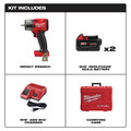 Milwaukee 2960-22 M18 FUEL Lithium-Ion Brushless Mid-Torque 3/8 in. Cordless Impact Wrench Kit with Friction Ring (5 Ah) image number 1