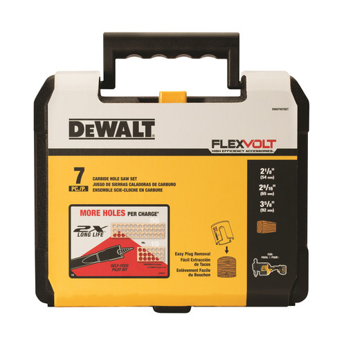Dewalt DWAFV07SET 7-Piece Carbide Wood Drilling Hole Saw Kit