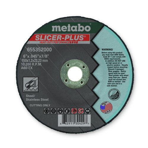 Metabo 655352000 6 in. x 0.045 in. A60TX Type 27 SLICER-PLUS High Performance Cutting Wheels (50 Pc) image number 0