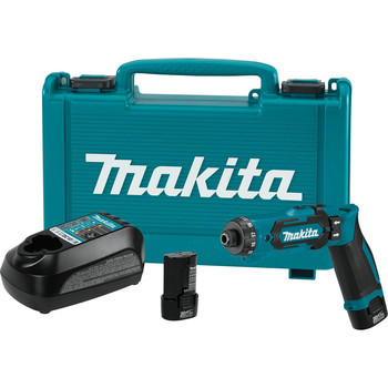 Makita DF012DSE 7.2V Lithium-Ion 1/4 in. Cordless Hex Drill Driver Kit with Auto-Stop Clutch (1.5 Ah) image number 0