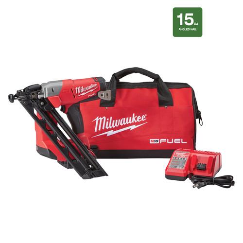 milwaukee 2743 21ct fuel m18 18v cordless lithium ion 15 gauge brushless finish nailer kit - Milwaukee Cordless Framing Nailer