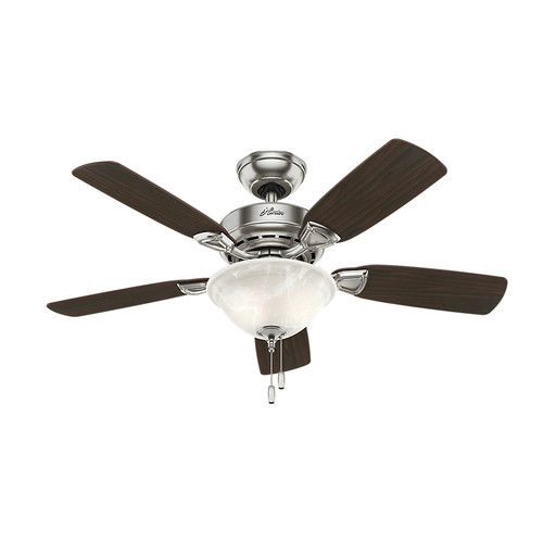 Hunter 52081 44 in. Caraway Five Minute Fan Brushed Nickel Ceiling Fan with Light