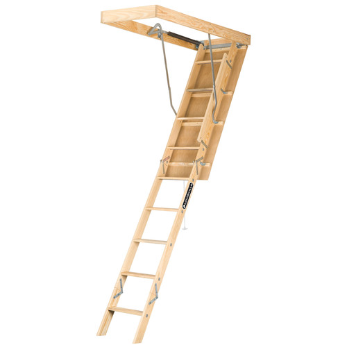 Louisville L224P Premium 250 lbs. Load Capacity 22-1/2 in. x 54 in. Open Ceiling Wood Attic Ladder for 10 ft. Ceiling Heights