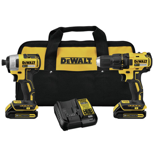 Factory Reconditioned Dewalt DCK277C2R 20V MAX 1.5 Ah Cordless Lithium-Ion Compact Brushless Drill and Impact Driver Combo Kit