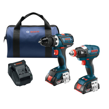 Factory Reconditioned Bosch CLPK238-181-RT 18V 2.0 Ah Cordless Lithium-Ion EC Brushless Impact Driver and Drill Driver Combo Kit