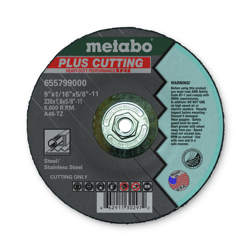 Metabo 655799000-10 9 in. x 1/16 in. A46TZ Type 27 SLICER Cutting Wheels (10-Pack)