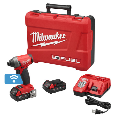 Milwaukee 2757-22CT M18 FUEL 18V 2.0 Ah Cordless Lithium-Ion 1/4 in. Hex Impact Driver Kit with ONE-KEY Connectivity